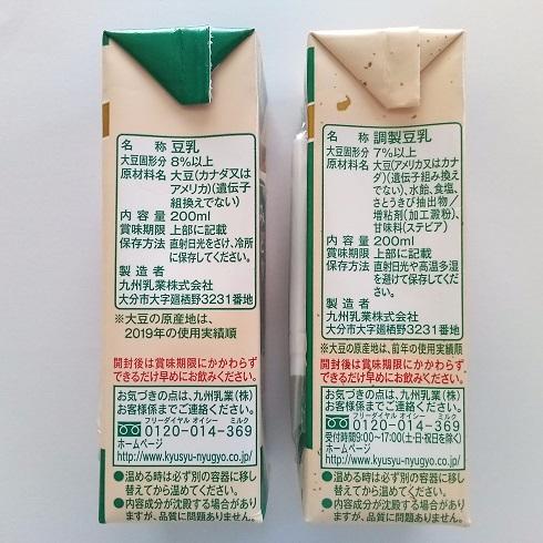 みどり豆乳・調整豆乳 原材料
